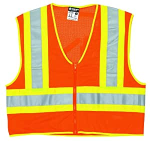 MCR Safety WCCL2OFRL Class 2 Polyester Mesh Flame Resistant Safety Vest with 3M Scotchlite Yellow/Silver Reflective Stripe, Fluorescent Orange, Large
