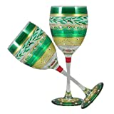 Golden Hill Studio Wine Glasses Hand Painted in the USA by American Artists-Set of 2-Mosaic Christmas Garland Collection