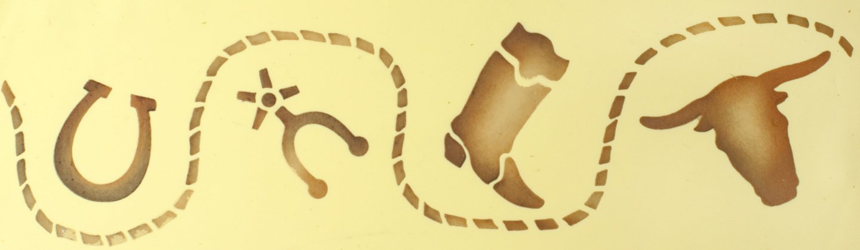 Beige//semi-transparent Designer Stencils C269 Cowboy Cake Stencil Side