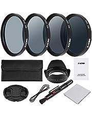 Zacro Kit Filtri fotografico 52mm (kit filtri e accessori ND2, ND4, ND8, ND16) per fotocamera DSLR, penna ottica, sacchetto filtro, paraluce, copriobiettivo, panno di pulizia in microfibra incluso