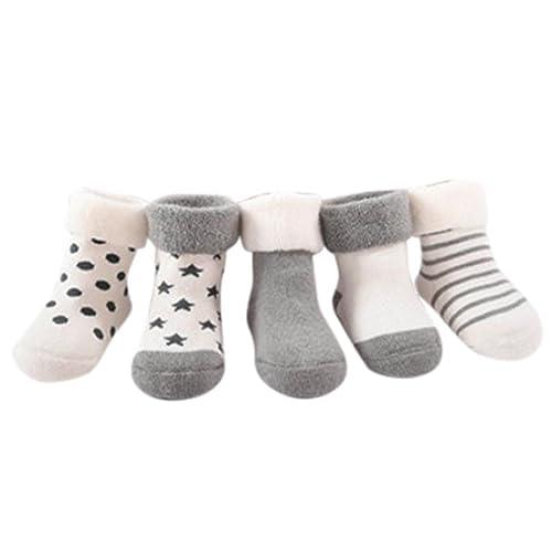 Yoyorule 5 Pairs Baby Socks Infant Boys Girls Striped Dot Print Anti Slip Socks 0 9M Gray