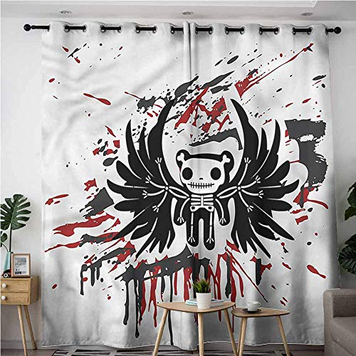 AndyTours Grommet Curtains,Halloween Comic Dead Skull Face,Insulated with Grommet Curtains for Bedroom,W108x108L]()