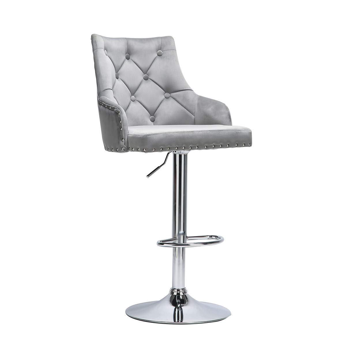 Vanimeu Bar Chair Velvet Grey, Height Adjustable Bar Stools with Backrest,  3° Swivel Gas Lift Kitchen Chair, Chrome