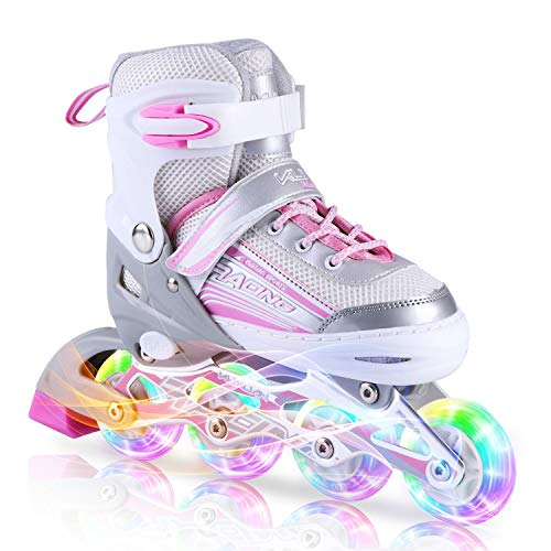 Kuxuan Saya Inline Skates Adjustable for Kids,Girls Rollerblades with All Wheels Light up,Fun Illuminating for Girls and Ladies - Medium (Best Shoes For Old Ladies)