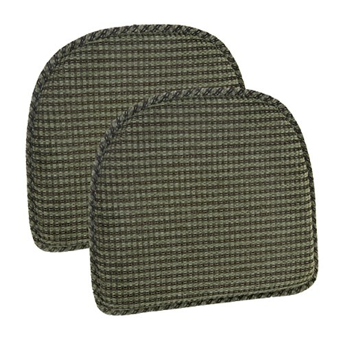 Klear Vu Staten Gripper DelightFill Non-Slip Dining Chair Pads, 15″ x 16″, Set of 2 Cushions, Herb