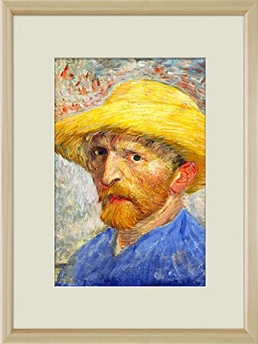 Creative 3D Visual Effect Wall Mural Self Portrait with Straw Hat by Vincent Van Gogh Peel Stick Wall Decor