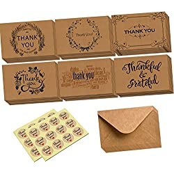 Thank You Card-48 Retro Kraft Thank U Greeting/Note Cards Set with Kraft Envelopes for Weddings, Baby Showers, Birthdays, Graduations(Foldedcard)