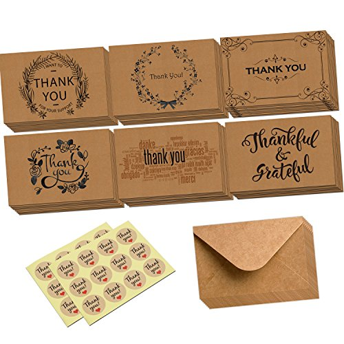 Thank You Card-48 Retro Kraft Thank U Greeting/Note Cards Set with Kraft Envelopes for Weddings, Baby Showers, Birthdays, Graduations(Foldedcard) -