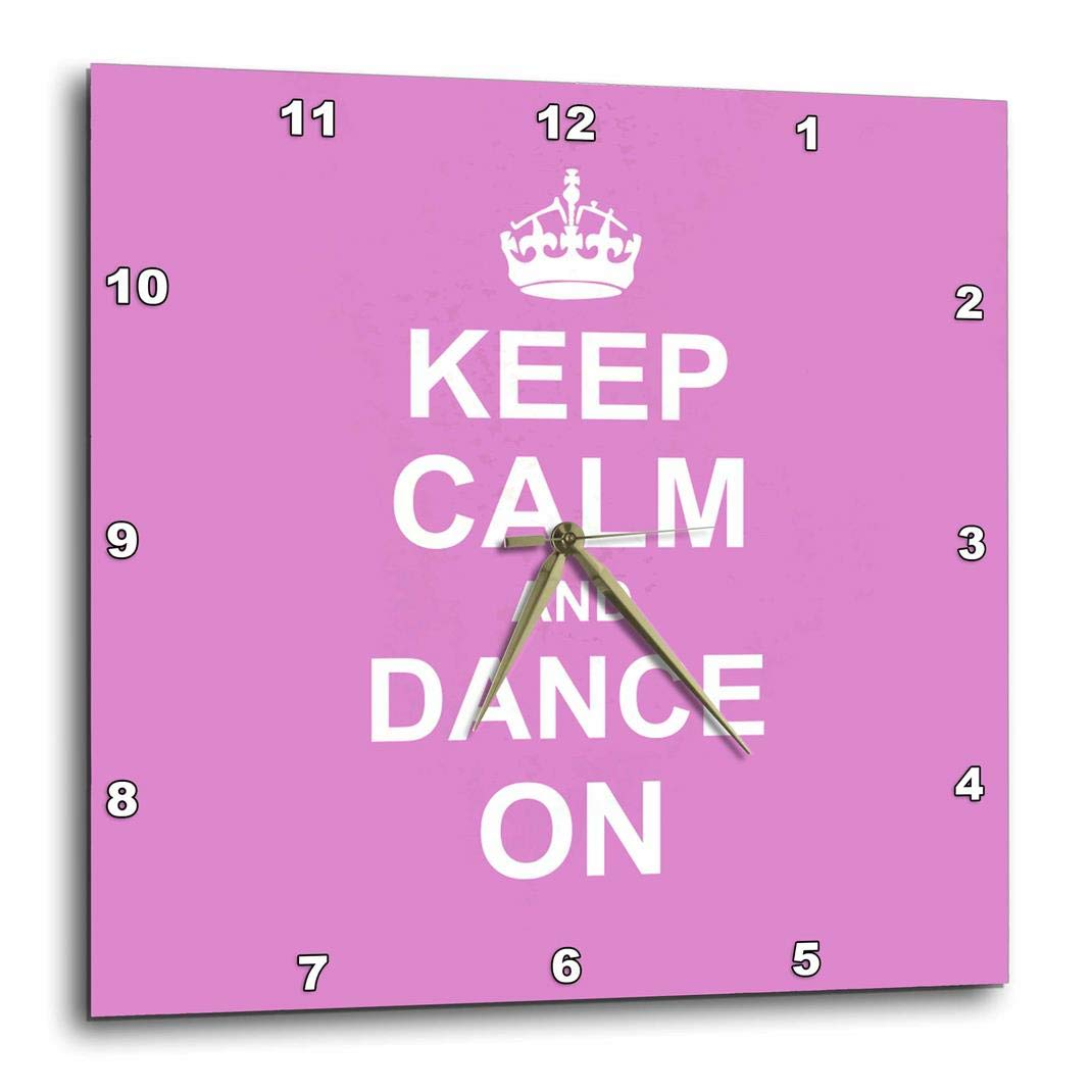 DPP/_157705/_1 10-inch 3dRose Keep Calm Carry on Dancing-Gifts for Dancers-Girly Pink Fun Funny Humorous-Wall Clock