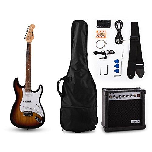 Austin RC201 E-Gitarren Bass Gitarre-Set Einsteiger Komplettset im Stratocaster-Style (20W Gitarrenverstärker, Gitarrenständer, Instrumentenkabel, Gitarrengurt, Gitarrentasche, Stimmgerät, Stimmpfeife) sunburst