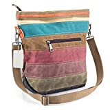 Canvas Handbag SNUG STAR Multi-Color Striped Lattice Cross Body Should Purse Bag Tote-Handbag for Women