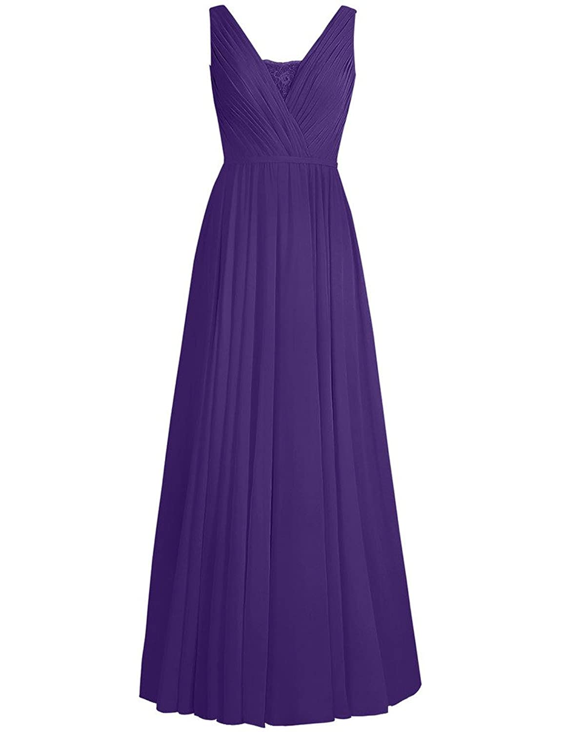 HUINI Lace Sheer V-Neck Long Chiffon Bridesmaid Prom Dresses Party Formal Gowns UK26W