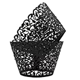 KEIVA Pack of 50 Vine Cupcake Holders Filigree Artistic Bake Cake Paper Cups Vine Designed Decor Wrapper Wraps Cupcake Muffin Paper Holders for Wedding Party Birthday Decoration (50, Black)