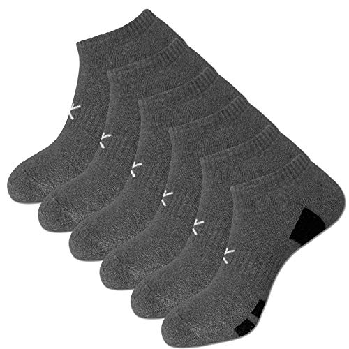 KONY Men's 6 Pairs Moisture Wicking Cotton Thick Cushioned Low Ankle Athletic Socks Size 9-12 All Season Gift (Charcoal)