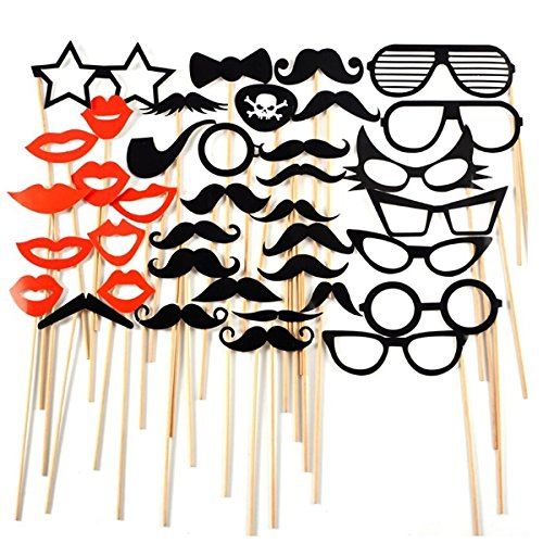 Tinksky 38-in-1 DIY Glasses Moustache Red Lips Bow Ties On Sticks Wedding Birthday Party Photo Booth Props