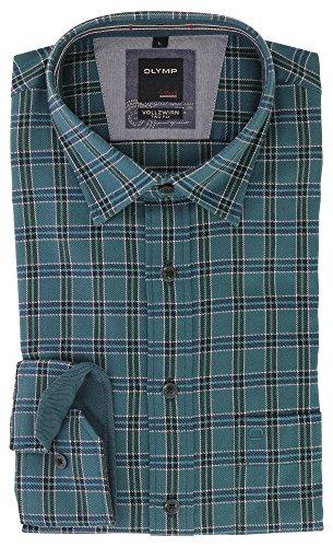 OLYMP Herren Casual Vollzwirn Two Ply Freizeithemd mit Kent Kragen Comfort Stretch 100% Baumwolle Gr.L Petrol Grün Kariert