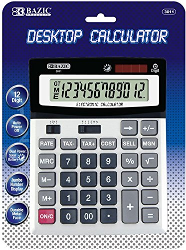 Bazic 12-Digit Calculator W/Profit Calculation(Pack of 12) from Bazic Products