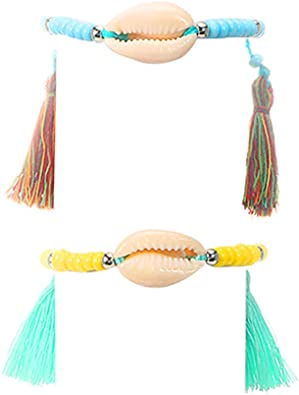 Lovogue Shell Starfish Anklets Bracelets Bohemian Turquoise Conch Beach Barefoot Sandal Beads Foot Chain Jewelry Adjustable for Women and Girls
