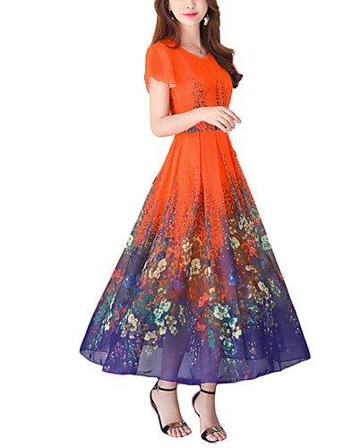 Escote Maxi Poliéster 2xl Zll diario Pico Corte floral Calle De Corta Verano Casual Vintage Chic Swing Noche Mujer Vacaciones Dress Manga En Vestido 6BxwqRBT
