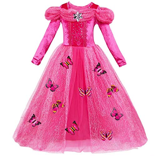 Little Girls Long Sleeve Princess Aurora Costume Christmas Party Dress for $<!--$22.99-->
