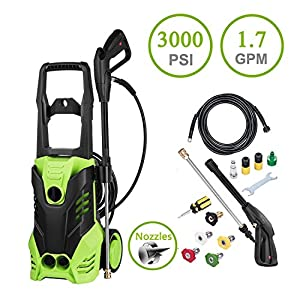 Fashine 3000 PSI 1.7GPM Electric High Pressure Washer 1800W Cleaner Machine with Power Hose Nozzle Gun and 5 Quick-Connect Spray Tips