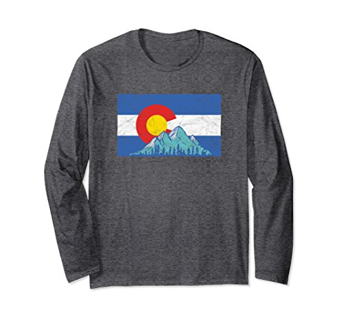 Unisex Colorado Flag and Rocky Mountains - Long Sleeve Tee Shirt XL Dark Heather ()