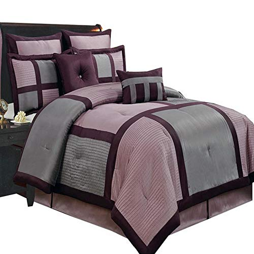 Comforter Set 12 Piece Luxury Complete Bed in a Bag Cal King Size - with Sheets Bed Skirt and Decorative Pillows - Modern Color Block Oversized Bedding Purple Grey