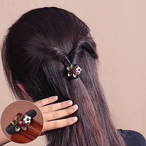 usongs Rubber band hair ring Tousheng women girls small fresh flower bold durable leather head tie ball head flower jewelry cowrie shells