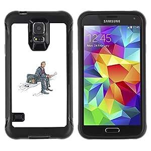Suave Caso Carcasa de Caucho Funda para Samsung Galaxy S5 SM-G900 wating with Newspaper / JUSTGO PHONE PROTECTOR