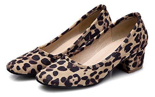 Lucksender Womens Square Toe Chunky Heel Comfort Simple Style Pumps Leopard 2Un3BHqHmw