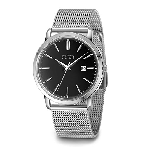 ESQ E040 Stainless Steel Watch with 3-Hand/Date Window, Domed Crystal and Stainless Steel Mesh Bracelet