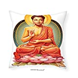 VROSELV Custom Cotton Linen Pillowcase Meditation Decor Collection Sanctuary Health Spa and Good Energy Lotus Flower Picture Print Bedroom Living Kids Girls Boys Room Dorm Accessories Pink O 14''x14
