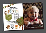 Customized - Birthday Invitation - First Birthday, Woodland Creatures, Animals, Toddler, Personalized