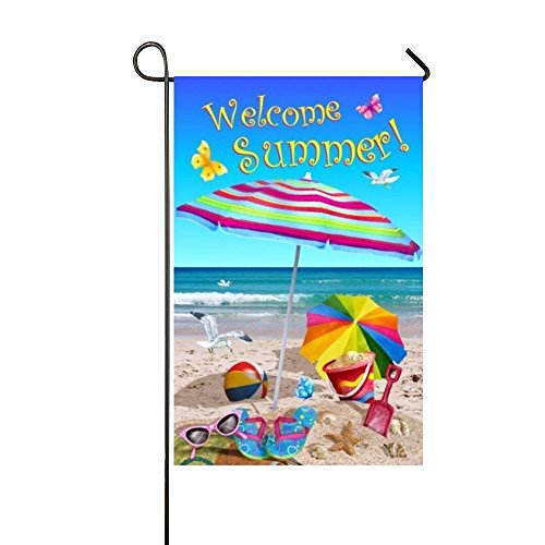 Welcome Summer Beach Scenery 28x40 Inch Garden Flag - Double