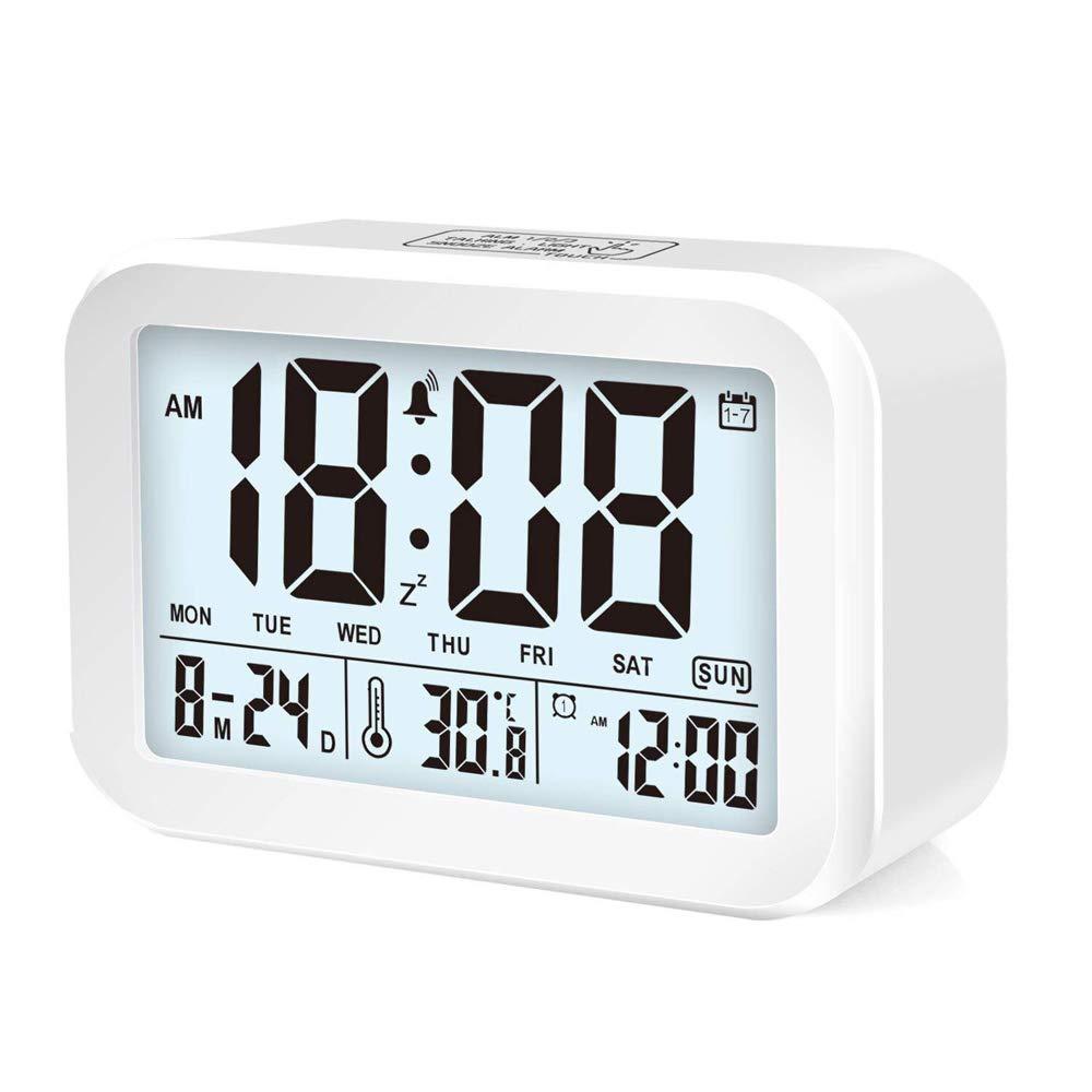 Sveglia digitale VGROUND Sveglia intelligente a LED Elettronica Orologio con display da 4,5 , Sensore notte, 3 modalità sveglia e 7 campanelli di allarme, ripetizione, visualizzazione data e temperatura, funzionamento a batteria, bianco 5