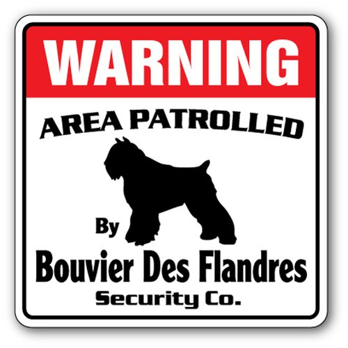 [SignJoker] BOUVIER DES FLANDRES Security Sign Area Patrolled Wall Plaque Decoration