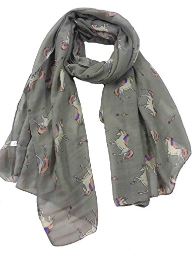 Lina & Lily Unicorn Horse Print Women's Scarf Shawl Lightweight (Grey)