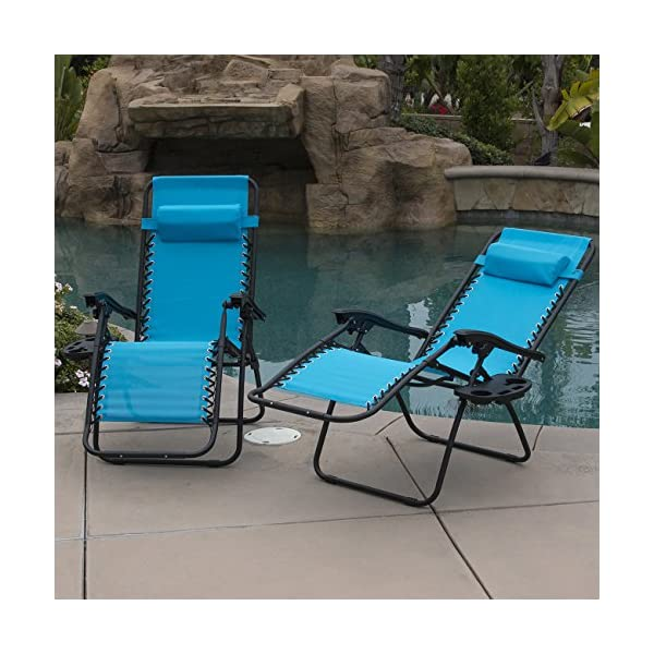 Belleze 2-Pack Zero Gravity Chairs - Sky Blue