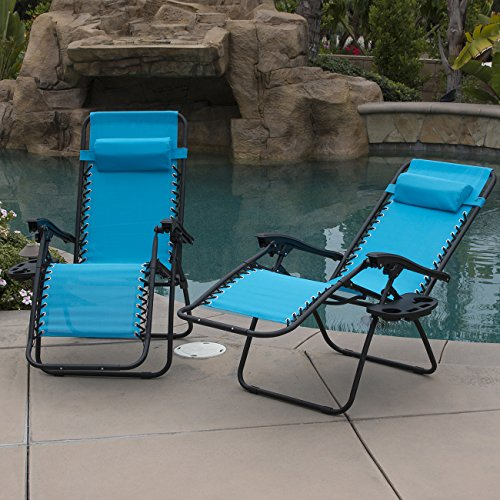 Belleze Sky Blue Zero Gravity Lounge Chair Recliner for Outdoor Beach Patio Pool with Cup Holder Tray, Set of (2) For Sale
