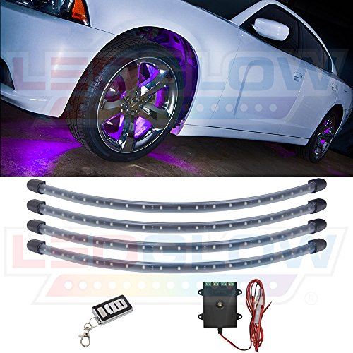 LEDGlow 4pc Purple LED Wheel Well Fender Light Kit - Flexible Waterproof Tubes - Includes Wireless Remote