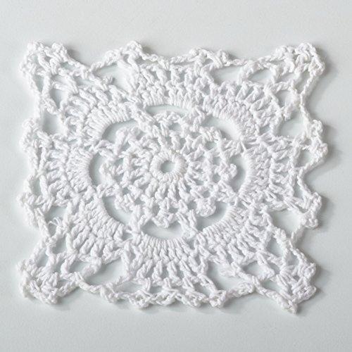 Fennco Styles Handmade Crochet Traycloth Cotton Doilies (4-inch Square Set of 4, White) (White Doily Vintage)