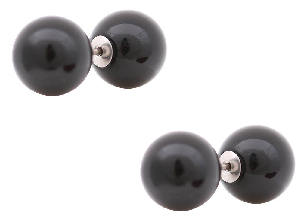 galaxyjewelry Black Ball BARBELL Pierced Titanium Stud Earring/10mm Black