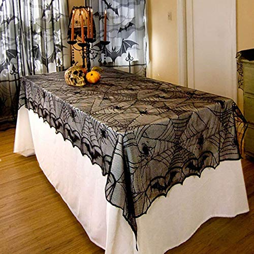 "(LETIN 48""x 96""Halloween Lace Tablecloth- Black Spider Web Table Covers for Halloween Parties Home Décor Dinner Parties and Scary Movie)"