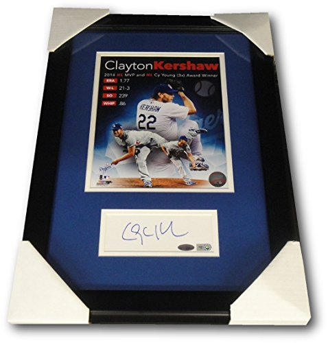 Clayton Kershaw Signed Auto 2.5x6 Large Cut Chit Framed W/ 8x10 Photo Steiner 10