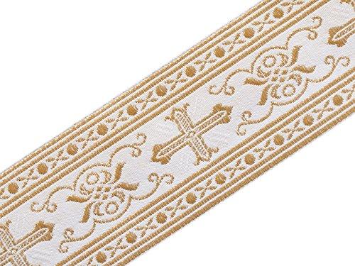 Ribbon White Jacquard Trim (Neo Gothic 3 Yards Religious Vestment Trim White Gold Metallic Jacquard Christian 2