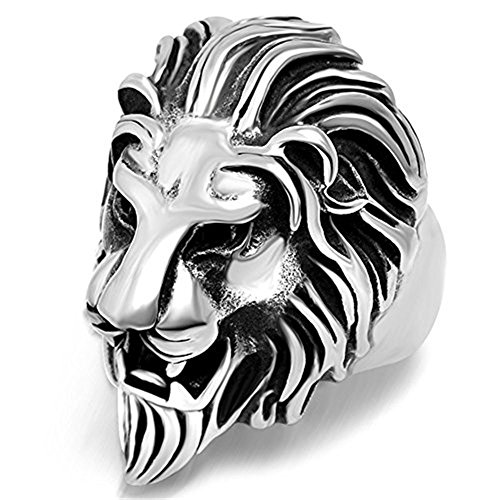 Lion Head Ladies Ring - 316L Titanium Steel Vintage Big Lion Head Punk Rock Gothic Ring Mens Biker Personalized Cool White Band 13