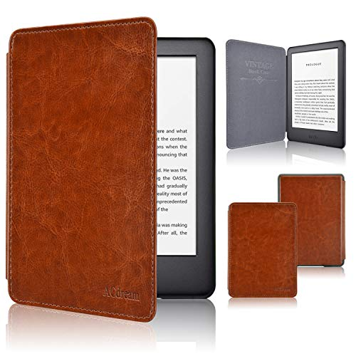 (ACdream Case Fits All-New Kindle 10th Genetation 2019 Release, The Thinnest and Lightest Premium PU Leather Cover Case for Kindle 10th Generation 2019 with Auto Wake Sleep Feather, Brown)