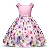 TTYAOVO Sleeveless Bow Tie Flower Girls Printing Party/Casual Dress Size 5-6 Years Pink