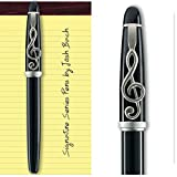 Josh Bach Mens Music Themed Rollerball Gift Pen with G Clef Clip
