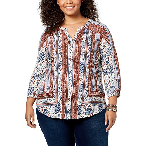Style & Co. Womens Plus Button-Down Mixed Print Peasant Top Blue 1X